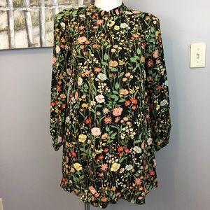 EUC Loft Black Floral Ruffle Tie V-Neck Dress M